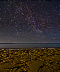 HERE ON EARTH (Tim Widdop) Tags: longexposure moon water night stars island photography photo florida earth nighttime lowtide stary alligatorpoint hereonearth milkyway wideopen starsandmoon appalacicola starsoverwater