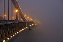 Budapest - the Chain bridge covered in fog at new year's eve 7 (Romeodesign) Tags: street bridge winter light sunset mist cold green water fog night lights haze iron hungary arch nebel dusk budapest perspective structure chain fa