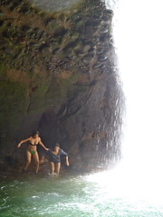 The High Jump (The Travelin Chicks) Tags: trip travel family vacation southamerica nature water swimming swim waterfall ecuador locals daughter mother culture lagoon adventure swimmingpool backpacking bikini jungle local guide traveling brunette swimsuit swimwear tourguide naturalpool puyo ecuadorians traveladventure travelinchucks travelinchicks