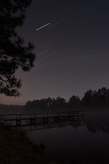 Star Trails - Eglin Range Complex, Florida (fisherbray) Tags: camping usa mist lake water fog night see nikon wasser nebel unitedstates florida airforce usaf crestview duckpond eglin startrail beautifulearth eglinafb vle okaloosacounty d5000 fisherbray eglinrangecomplex newphotodistillery