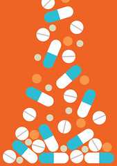Take Your Medicine (mrjaspergold) Tags: uk england art colors illustration design graphicdesign colours graphic bright minimal clean falling pile drugs medicine british pills simple overdose prescription bold medication jaspergold