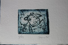 small calf looking, from the pigsty [sic!] (Etching Stone) Tags: stone barn cow etching looking small stall calf pigsty radierung schweinestall