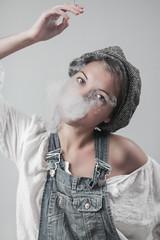 Lou (www.betweenstrap.com) Tags: white studio high model women key smoke femme young louise actress blanc parisian mignon fumee jeune parisienne jambe modle mignonne actrice louise2012