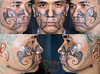 custom face tattoo (durgatattoo) Tags: bali face tattoo carving tendril borneo motive sari facial tato patra dayak