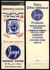 Jays Potato Chips in Valparaiso, Indiana - Matchcover (Shook Photos) Tags: smoke smoking match matches matchcover matchcovers matchbook matchbooks valparaisoindiana valparaiso indiana portercounty jays jayspotatochips snacks snack potatochips