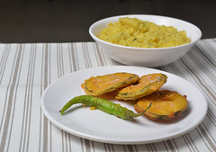 Begun Bhaja (Bhaskar Dutta) Tags: brinjal begun fry bhaja khitchdi khichuri bengali bengal monsoon food sides hot india