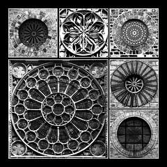 Quadrature of circles - HWW! (lunaryuna) Tags: composition photomosaic tableau windows roundwindows squaredcircles squircles quadratureofthecircle blackwhite bw monochrome lunaryuna windowswednesday