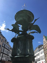 The Stork Fountain - Copenhagen - Kobenhavn - Denmark - CPH (firehouse.ie) Tags: danish central amagertorv storkfountain stork square street houses architecture buildings tourism town centre center centro waterfountain water attraction tourist downtown fountain zeeland denmark cph kobenhavn copenhagen city urban europe