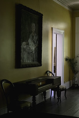 Small Audience (Joe Corll) Tags: vintage abandoned creepy creep old house pa meadville baldwin museum corll nikon d3300 1855 18 55 kit lens kitlens piano key keys keyboard painting paint ing painters painter woman sitting dress ghost doorway chairs plant yellow spoopy spooky skoopy console parlor small smol puppers