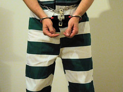 There's not much you can do when shackled like this. (rainerzufall1234) Tags: inmate prisoner handcuffs bluebox shackles restraints bellychain waistchain jumpsuit