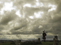 56 of 100 - BagPiper (linlaw39) Tags: canonpowershotsx60hs bagpiper bagpipes clouds sky scotland aberdeenshire geocaching stonecircle project100 image56100 august2016 20082016