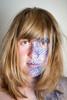 Day 175, Year 9. (evilibby) Tags: 365 3659 365days 365days9 libby facepaint blue makeup portrait messyhair pattern diamondpattern patterned blonde