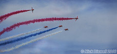 Red, White and Blue (Nick Biswell) Tags: unitedkingdom centralbedfordshire shuttleworthseasonopener2016 bccpoty2016round6open aircraft airplanes airshow aeroplanes redarrows redarrowsdisplayteam redarrowsenid hawkt1 hawk bae baehawkt1 shuttleworth shuttleworthcollection enid raf rafdisplayteam a580 sony tamrondt18270mmf3563 oldwarden royalairforce five 5 red blue white jets corkscrew