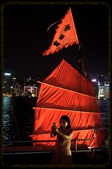 Selfie woman (C. Alice) Tags: sony sonya6000 ilce6000 carlzeiss hongkong cruise harbour people sea night red cruiseyacht zeiss 21mmf28 g21mmf28 contax manuallens adaptor contaxgmount gmount nostalgia 500views contaxg21mmf28biogont flag asia selfie woman favorites50