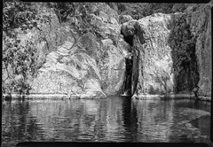 Cevennes near Cascades du Ray-Pic (salparadise666) Tags: busch pressman 2x3 101mm wollensak ygfilter fomapan 100 sheet film caffenol rs 14min nils volkmer analog france cevennes monochrome black white medium format cascades du raypic