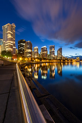 Vancouver (Nelepl) Tags: vancouver britishcolumbia bc canada twilight bluehour city skyline coalharbour marina waterfront water ocean downtown architecture travel longexposure clouds street lights leadinglines buildings nightscape