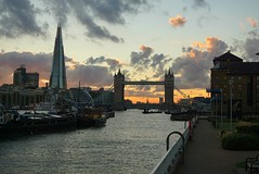 """Every sunset is an opportunity to reset.""  Richie Norton  (venesha83) Tags: london towerbridge cityhall theshard citysunset sunset londonsunset skyline londonskyline clouds evening river riverthames"