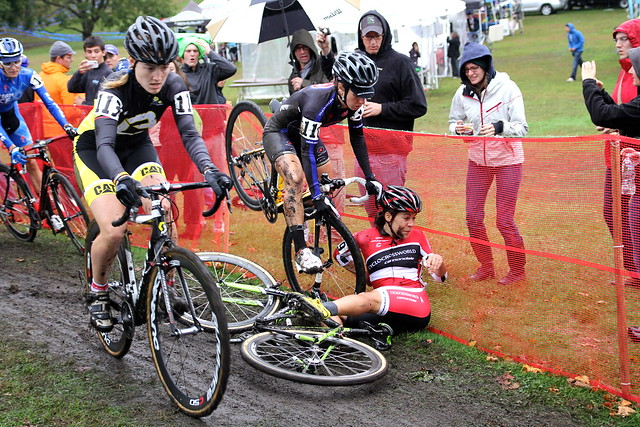Crystal Anthony takes a tire to the face before a bigger crash on a slippery Day 2