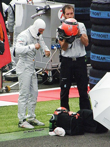 Michael Schumacher prepares for the 2011 British Grand Prix at Silvertone