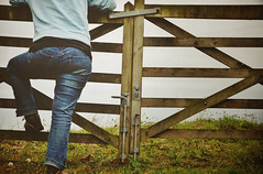 Climbing Fences (Tinina67) Tags: woman france rural fence person boots over climbing jeans tina otherside tinina67