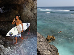 surfing in uluwatu - bali (Emmanuel Catteau photography) Tags: travel boy sea portrait bali cliff tourism holidays rocks asia surf board reporter wave surfing national planet uluwatu conde lonely local geo geographic nast traveler balinese photogrpher catteau wwwemmanuelcatteaucom