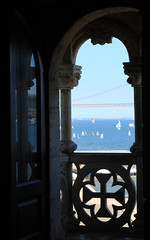Sailing away... dreams (Una S) Tags: ocean bridge sea portugal window river de boats sailing torre view yacht lisboa lisbon balcony arabic belem