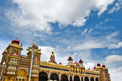 Incredible !ndia | Mysore (Kals Pics) Tags: sky india tower art architecture clouds photography pov muslim gothic perspective wideangle palace dome granite 1855mm karnataka hindu mysore indosaracenic rajput wodeyar incredibleindia gajalakshmi nikond40 henryirwin goddessofwealth fivestoreys kalspics 145feet