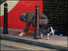 Shepard Fairey - in progress (Alex Ellison) Tags: urban streetart art painting giant graffiti stencil mural obey shoreditch inprogress atwork shepardfairey eastlondon