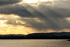 Underneath The Sky. (stonefaction) Tags: park sky hot nature clouds river scotland riverside dundee air balloon tay faved