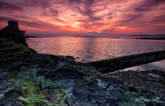 Tidal Pool Tower (StevieC-Photography) Tags: sunset tower castle rock landscape scotland moss twilight tidalpool pasteltones gameofthrones cokinfilters steviec