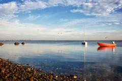 Spiegel (dubdream) Tags: ocean sea sky cloud house seascape bird water animal rock germany landscape boat nikon explore pebble schleswigholstein heiligenhafen d700 strandhusen dubdream