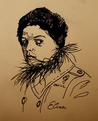 Portrait Elina (Sketchmanni) Tags: portrait pencil ink sketch tinte schwarz moleskin feder manni fller jkpp