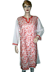 White Tops for Womens Orange Embroidered Long Kurti Tunic L (Mogul Interior) Tags: whitetop whitetanktop whitetops whitetanktops whitetopsforladies ladieswhitetops whitetopsforgirls whitecottontop whitetopsandblouses