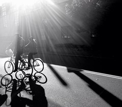 Two bicycles built for two (stephieseye) Tags: street light shadow bw reflection bicycle boston candid iphone bicyclebuiltfortwo iphoneography