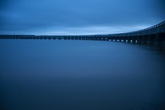Cool Blue View - Enhanced Curvature - Tay Rail Bridge - Dundee Scotland (Magdalen Green Photography) Tags: longexposure scotland cool riverside rivertay dundee scottish curved prettyblue coolblue tayrailbridge 4106 iaingordon dundeewestend coolblueview magdalengreenphotography bridgesofscotland enhancedcurvature