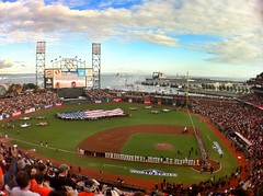 World Series Game 1 (Curt Bianchi) Tags: sanfrancisco california game 1 baseball flag american tigers giants 2012 worldseries game1 nationalanthem curtbianchi attpark iphone4 olloclip snapseed
