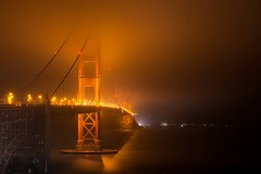 Witching Hour (Golden Gate Bridge), San Francisco (flatworldsedge) Tags: sanfrancisco california city longexposure bridge light red sea orange usa cloud mist blur fog night gold bay glow arch suspension goldengate midnight deco witchinghour