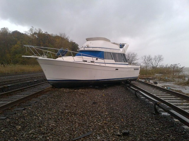 Boat On the Tracks near MNR's Ossining Station