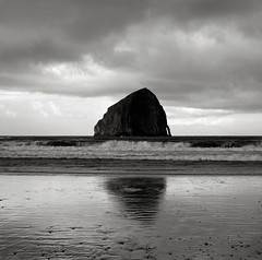 Early Morning, Haystack Rock, Oregon (austin granger) Tags: film oregon reflections square dawn surf haystackrock monolith largeformat seastack pacificcity deardorff austingranger