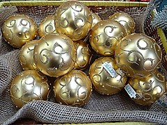 Golden baubles (BowBelle51) Tags: santa decorations train reindeer lights penguins fireplace fairground donkey carousel robins polarbear nativity snowglobe eskimo baubles meerkats fircones