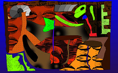 Favorable Jungle Cut (Jan 2013) (Ian Clegg Walsh) Tags: street sculpture abstract art animals illustration photoshop painting volcano sketch swan artwork paint grafitti drawing originalart contemporaryart contemporary quality surrealism digitalart dream shapes like surreal objects peinture digitalpainting ape animation layers yves amusing naive tones figures wacom vector bizarre figurative whimsical based gibbon primitive ianwalsh favourable