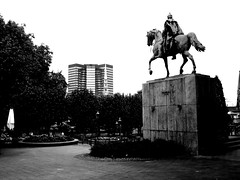 Wilhelm I in Essen (Keyfabe) Tags: park horse white black monument monochrome statue germany concrete essen riding bismarck equestrian horseback parkland deutscheland