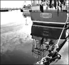 Bikini (Marie EG) Tags: winter bw reflection water boat skne sweden harbour january sdersltt skre d3000