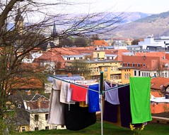 Spring air for the laundry (:Linda:) Tags: church germany town kirche jena thuringia laundry baretree laundryline wscheleine wschespinne rotaryclothesline