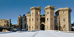 Raglan Castle (welshio) Tags: lighting uk winter light snow cold history castles southwales wales fairytale landscape europe 17thcentury stonework gothic towers atmosphere medieval drawbridge welsh raglan monuments picturesque portcullis faerie forts gwent pictorial buttress rampart monmouthshire romanticism welshcastles englishcivilwar senseofplace marquessofbute romanticlandscape britishlandscapes welshlandscapes arrowholes welshlandmarks
