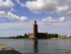 Stoccolma 2012-09 (Felson.) Tags: trip travel blue sky panorama holiday water clouds landscape nuvole day cloudy sweden stockholm blu cielo sverige acqua viaggio vacanza stoccolma stadhuset 2012 municipio stadshus svezia