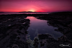 Afterglow (StevieC - Photography) Tags: sunset sea water glow vibrant rockpool ayrshire portencross steviec