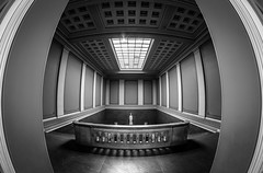 British Museum London (explored) (Scott Baldock Photography) Tags: light blackandwhite bw sculpture building london art museum architecture stairs mono hall interior fisheye bloomsbury british britishmuseum lightroom cityarchitecture