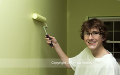 Teen Painting his Room (Lisa-S) Tags: portrait ontario canada green painting lisas teen roller brampton invited alun 2357 flickropen copyright2013lisastokes getty2013 getty20130205