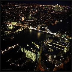 Tower Bridge By Night (peterphotographic) Tags: city uk england urban london apple night towerbridge dark square lights view britain dusk shard riverthames toweroflondon 4s iphone theshard hipstamatic iphonepography img1886edwm